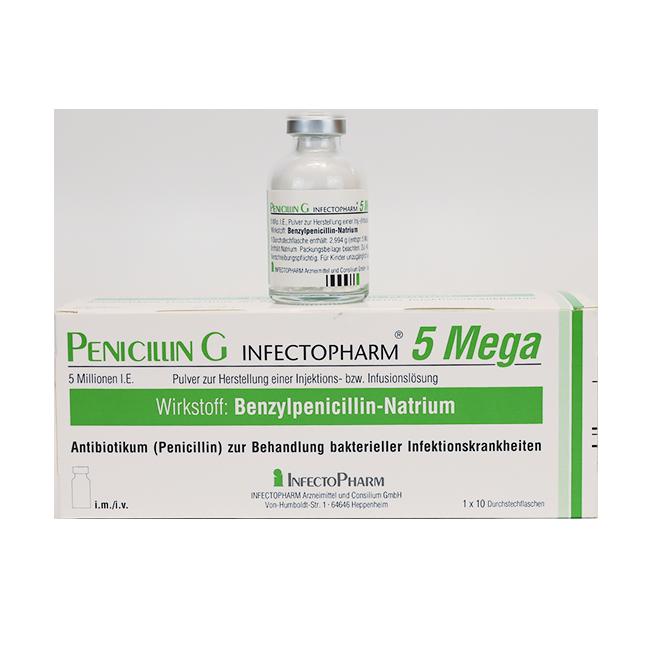 Пенициллин G 5 Mega (Инфектоциллин, Экстенцеллин) 5 млн МЕ 1 фл./уп.